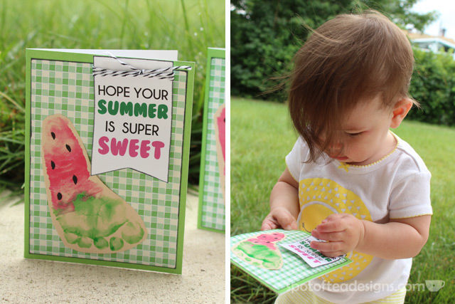 Sweet #Summer Watermelon #Baby Footprint Cards with Free Printable Tags | spotofteadesigns.com