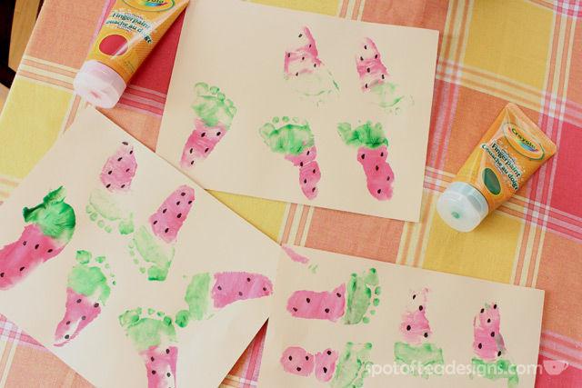 Watermelon Baby Footprint Cards | spotofteadesigns.com