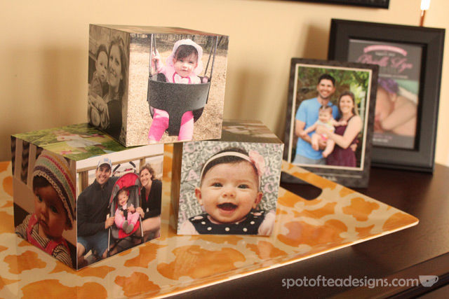 Family photo home decor accessories from @Shutterfly - photo cubes | spotofteadesigns.com