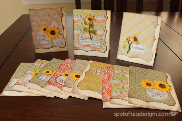#Gift Idea: Handmade Greeting Cards. See one coordinated set feauring sunflower stickers   spotofteadesigns.com