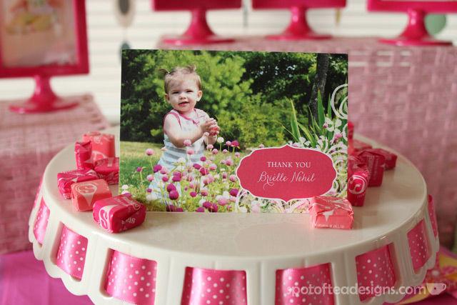 Pinwheel first birthday party: @TinyPrints thank you card #birthdayparty | spotofteadesigns.com