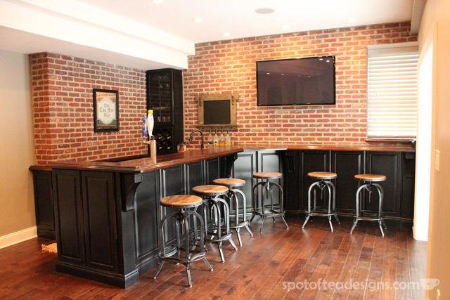 Beautiful Basement Bar Reveal   spotofteadesigns.com