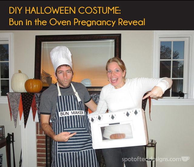 DIY Pregnancy Reveal Halloween Costumes Costume: Bun in the oven | spotofteadesigns.com