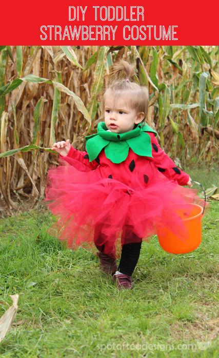 #DIY Strawberry Halloween Costume for a Toddler | spotofteadesigns.com