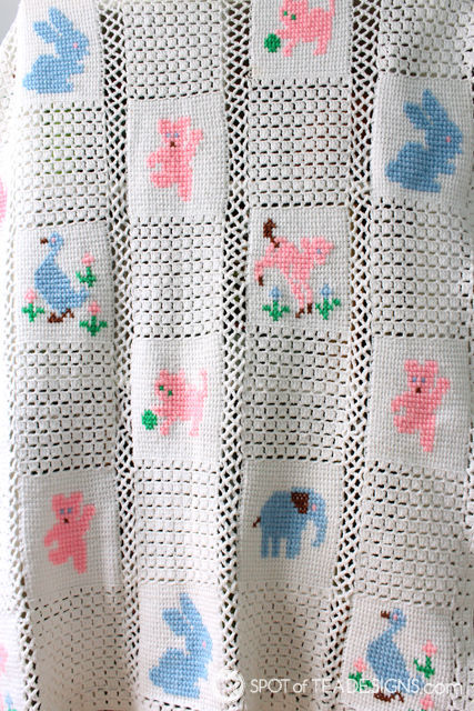 Handmade Baby Blanket gifted at a 1981 #babyshower and passed down in the family | spotofteadesigns.com