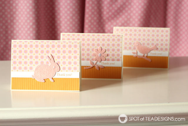 Orange and pink handmade thank you cards featuring Martha Stewart Crafts | spotofteadesigns.com