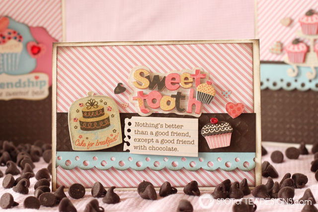 Use Your Stash Challenge: 3 handmade cards using 1 chocolate and cupcake themed sticker set | spotofteadesigns.com