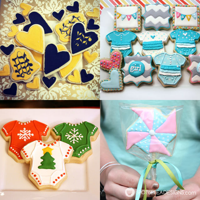 A collection of sugar cookies created by Cherylin | spotofteadesigns.com