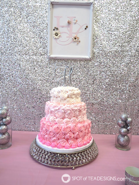 Sparkling First #Birthday #Party featuring a pink and silver sparkle color palette - ombre cake | spotofteadesigns.com