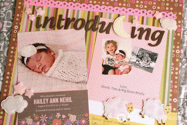 Hailey's First Year - Baby #Scrapbook - Announcement Card from @Shutterfly | spotofteadesigns.com