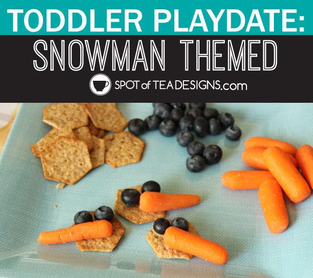 Snowman themed toddler playdate: snowman #kidscraft and snack ideas | spotofteadesigns.com