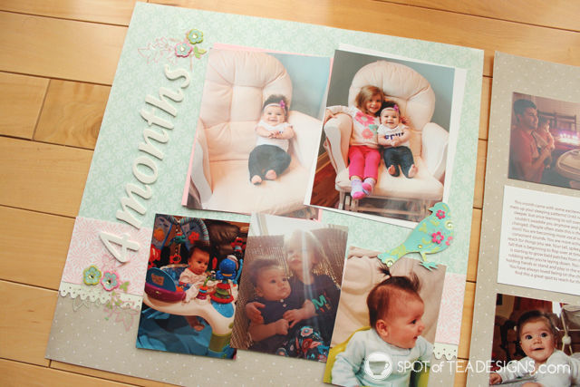 Hailey's First Year - Baby #Scrapbook - Month 4 | spotofteadesigns.com