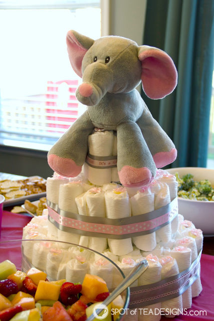 Adorable Pink elephant themed #babyshower for a mom to be - diaper cake | spotofteadesigns.com