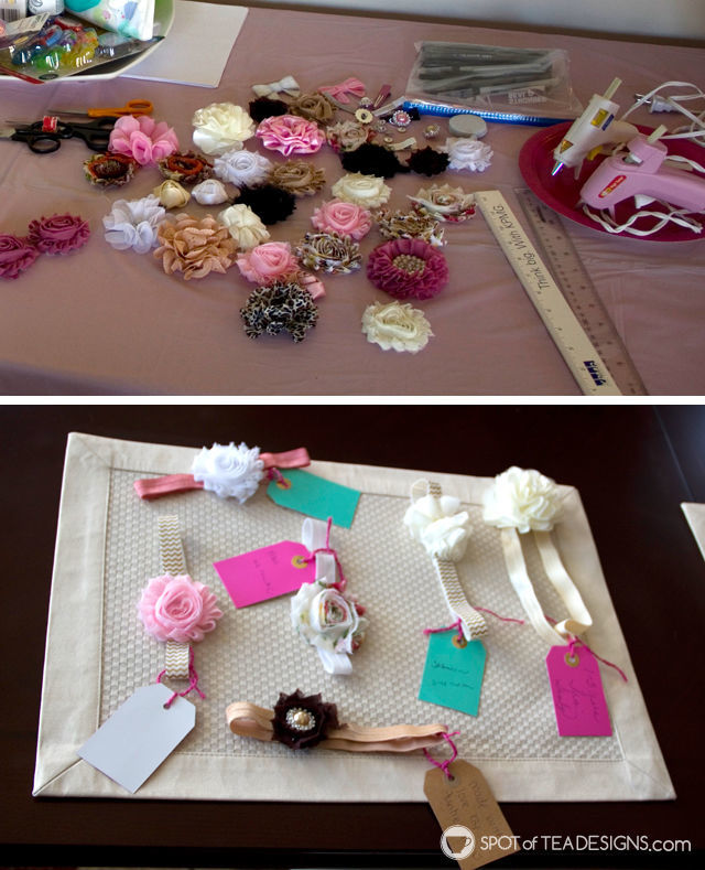 Adorable Pink elephant themed #babyshower for a mom to be - make baby a headband station | spotofteadesigns.com