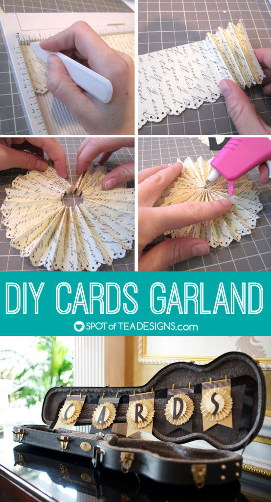 Step by Step tutorial to make paper fans for a DIY Cards Garland for your #wedding! | spotofteadesigns.com