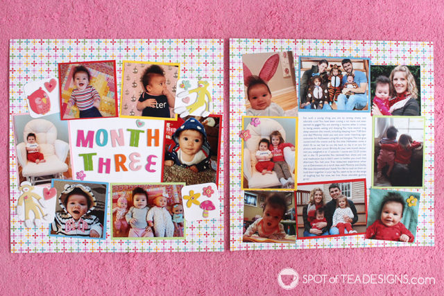 Hailey's First Year #Scrapbook - Month 3 full layout | spotofteadesigns.com