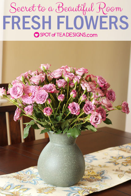Secret to making a room beautiful - fresh flowers. Spray roses from @BloomsyBox. #BloomingHappy #ad | Spotofteadesigns.com