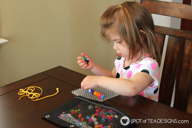 Toddler Busy Bag - assorted beads and pegboards | spotofteadesigns.com