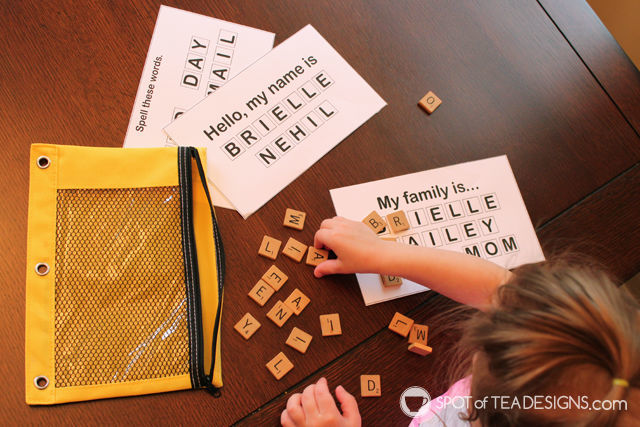 Toddler Busy Bag - alphabet tiles to practice names and words | spotofteadesigns.com