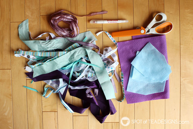 First Birthday DIY Craft - High Chair Garland using ribbon scraps! #party #DIY #firstbirthday   Spotofteadesigns.com