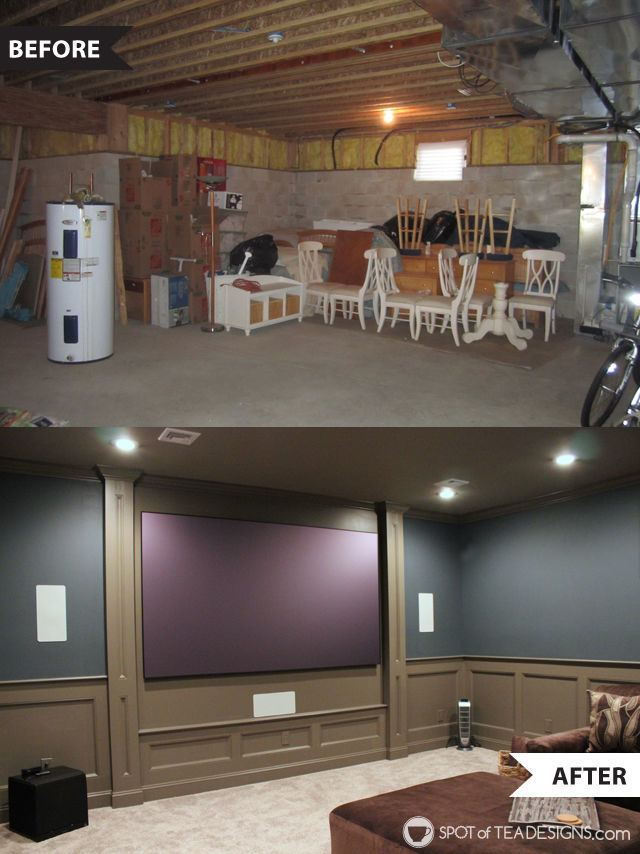 Comfy and Cozy Family Theater Room reveal - before and after of this basement space| spotofteadesigns.com