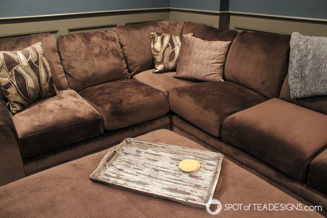 Comfy and Cozy Family Theater Room reveal | spotofteadesigns.com
