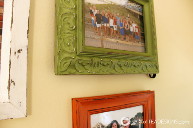 DIY Family Gallery Wall - frames made to match using @DecoArt_Inc Americana Chalk Paint | Spotofteadesigns.com