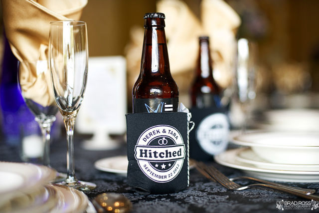 Spotofteadesigns.com Wedding, photographed by Brad Ross Photography - Custom designed hitched beer coozie