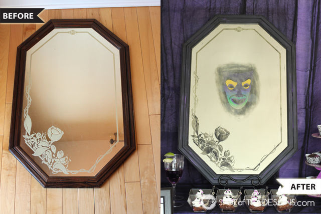 Thrift store mirror turned creepy #Halloween #party accessory | spotofteadesigns.com
