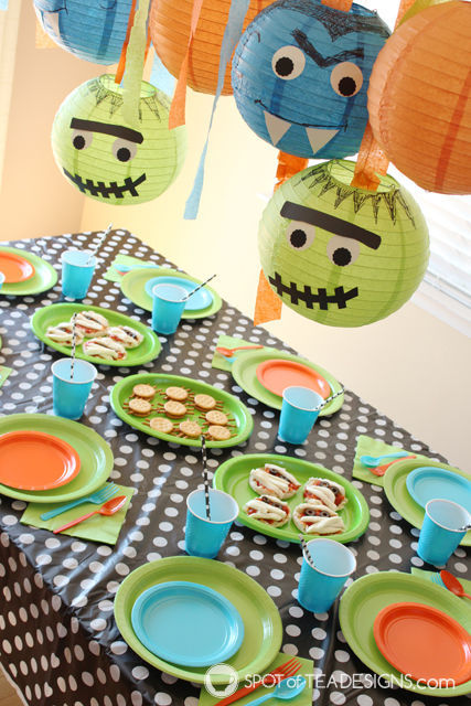 Monster Mash Halloween party featuring generic monster characters and healthy food options!   spotofteadesigns.com
