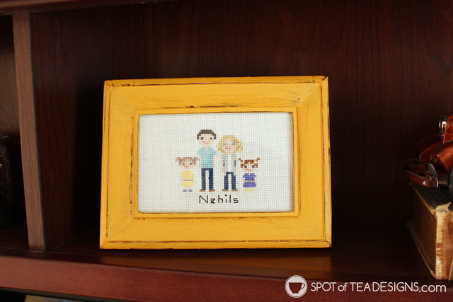 Custom cross stitch family portrait - great for holiday gifts! #crossstitch #needlecrafts #christmasgift   spotofteadesigns.com