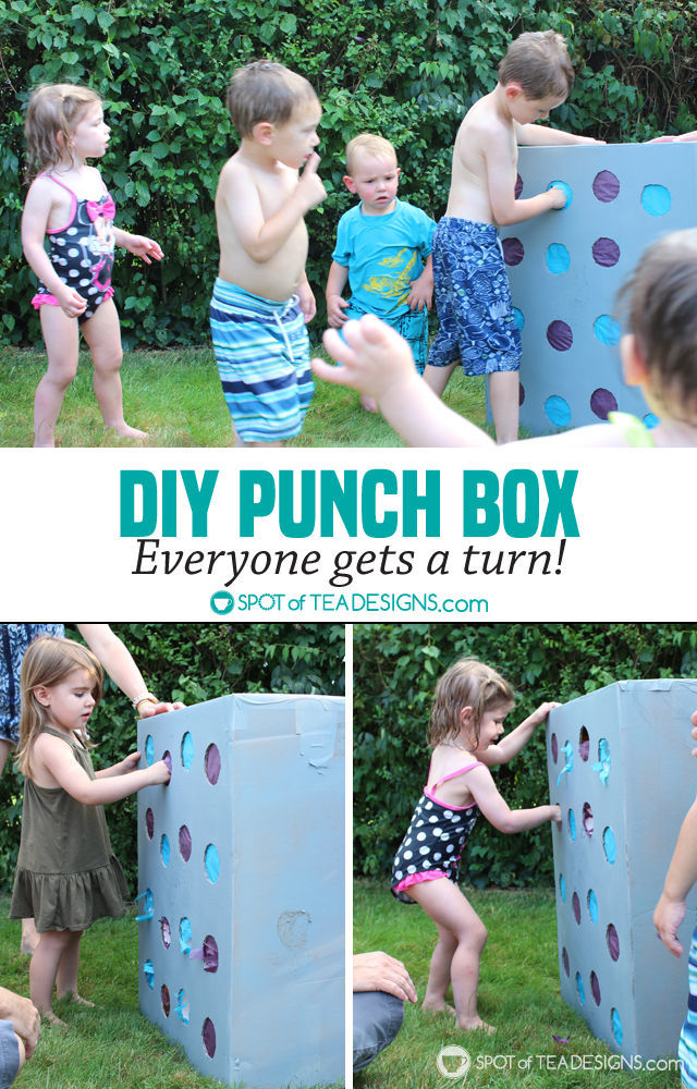 DIY Punch Box Tutorial - create instead of a pinata and every kid gets a turn at the party! #birthdayparty | spotofteadesigns.com
