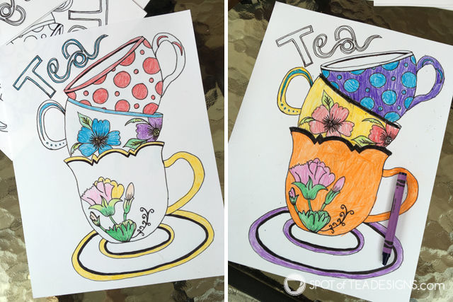 Tea for Two 2nd Birthday Party - coloring sheets | spotofteadesigns.com