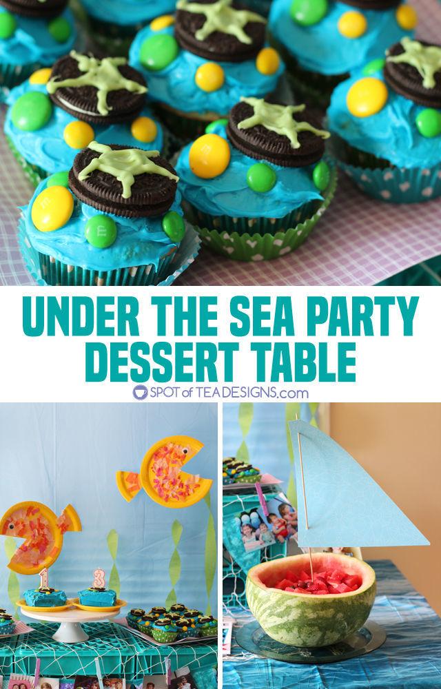 Under the sea #birthdayparty Dessert table ideas | spotofteadesigns.com