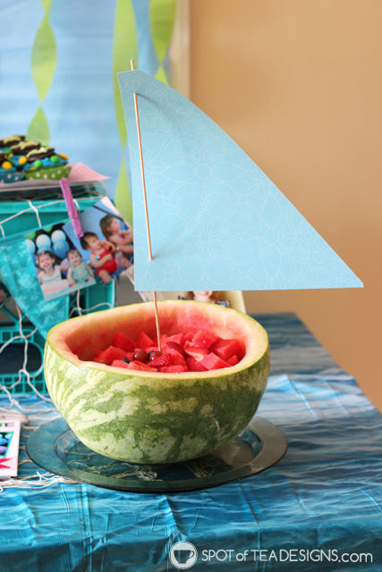 Under the Sea #Birthdayparty - Watermelon Sailboat | spotofteadesigns.com