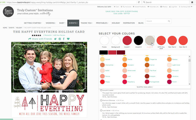 Customizable Holiday Cards on @BasicInvite | spotofteadesigns.com