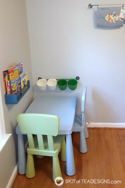 Transportation Themeds Boys Playroom - craft corner   spotofteadesigns.com