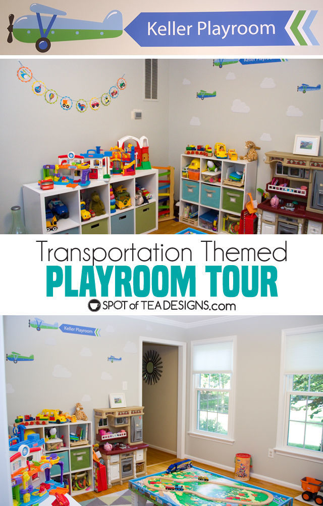 Transportation Themeds Boys Playroom - featuring wall decal from @namebubbles | spotofteadesigns.com