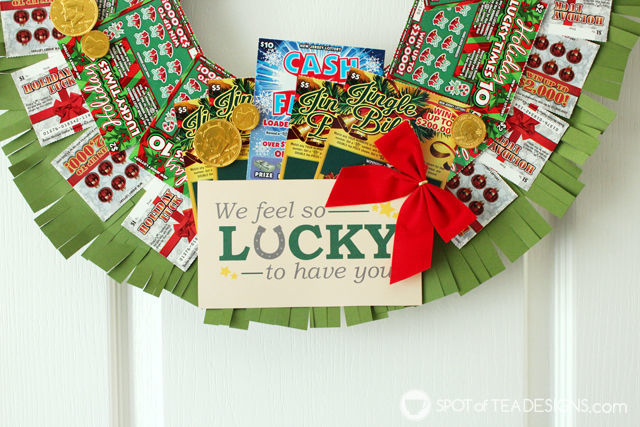 Step by step photo tutorial to make a DIY Lottery Wreath featuring #NJLottery instant win lottery tickets. Free printable lucky tag. #AD | spotofteadesigns.com