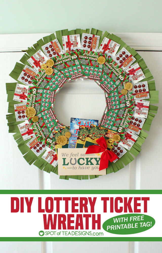 Step by step photo tutorial to make a DIY Lottery Wreath featuring #NJLottery instant win lottery tickets. #AD | spotofteadesigns.com