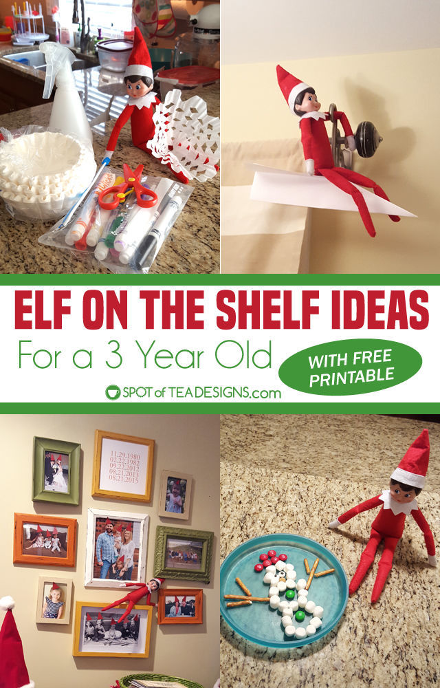 Elf on the Shelf Ideas for a 3 year old - includes printable to check off the ideas each night!   spotofteadesigns.com