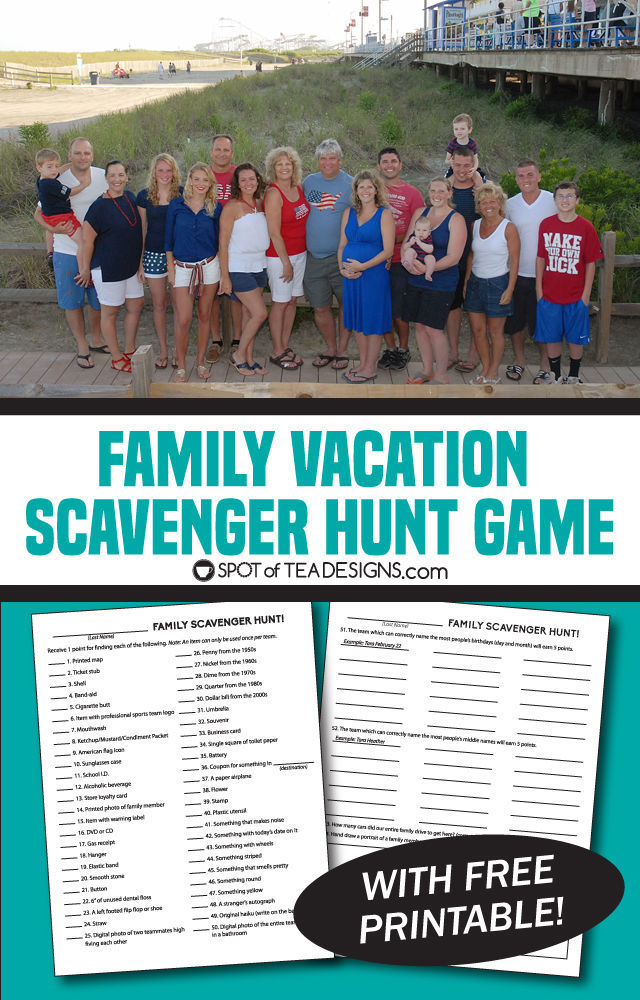 Family Vacation Game - Scavenger Hunt. Includes free printable of the game! | spotofteadesigns.com