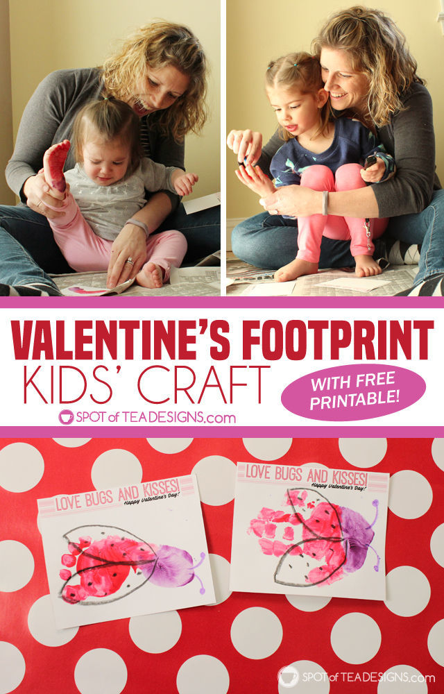 picture about Bugs and Kisses Free Printable identified as Insects and Kisses Valentines Footprint Little ones Craft with No cost