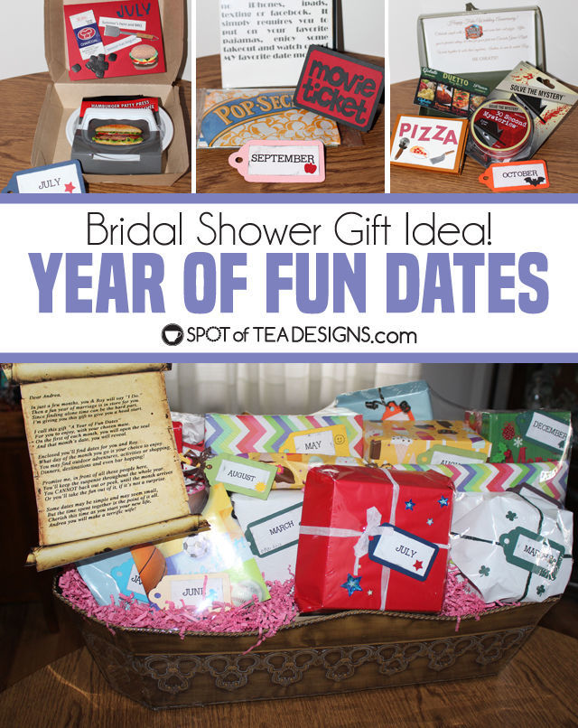 Year of Fun Dates Bridal Shower Gift - open one gift each month for their first month of marriage | spotofteadesigns.com