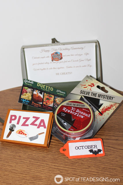 Year of Fun Dates Bridal Shower Gift - october pizza gift card and game for game night | spotofteadesigns.com