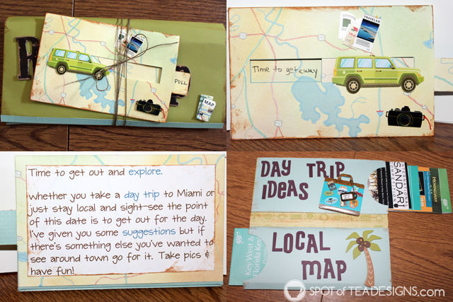 Year of Fun Dates Bridal Shower Gift - day trip suggestions with pamplets | spotofteadesigns.com