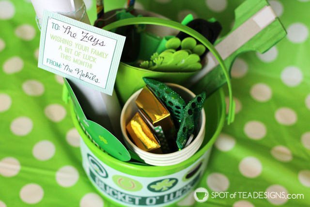 Bucket O Luck - green luck themed gift basket idea with free printable for bucket design and gift tag | spotofteadesigns.com