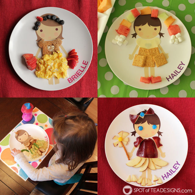 Favorite items for toddlers age 3 - dylbug personalized plates. play with your food! #dylbugdressup | spotofteadesigns.com
