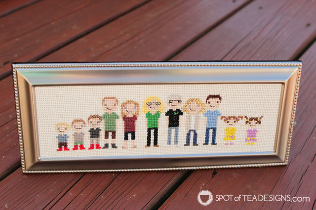 Handmade gift idea: cross stitch extended family portrait | spotofteadesigns.com