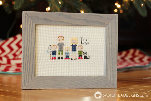 Cross Stitch Family Portrait handmade gift idea | spotofteadesigns.com